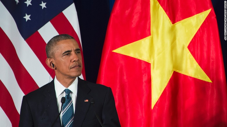 US President Barack Obama speaks during a joint press conference in Hanoi on May 23, 2016. Obama was to meet communist Vietnam's senior leaders on May 23, kicking off a landmark visit that caps two decades of post-war rapprochement, as both countries look to push trade and check Beijing's growing assertiveness in the South China Sea. / AFP / JIM WATSON        (Photo credit should read JIM WATSON/AFP/Getty Images)