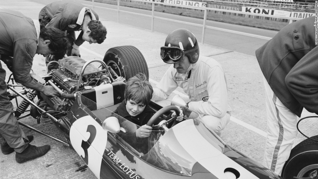 Hill seen here showing his son, Damon, the ropes at Silverstone in 1967. Hill Jr. would follow in his father's footsteps winning the F1 world title in 1996. Graham won the title twice -- in 1962 and 1968 -- before tragically being killed in a plane crash in 1975.