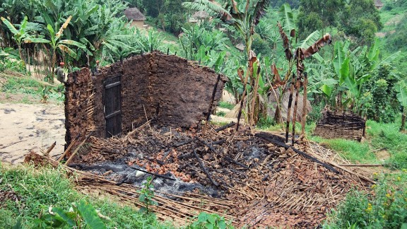 A burnt hut in a village in the North Kivu province which was destroyed in an attack in February 2016. Around 70 houses burned down in the Lubero and Walikale territories, Pouilly said.
