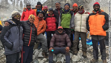 Indian climber Subash Paul (far left) died Sunday. He is pictured here with Paresh Chandra Nath, second from right, and Goutam Ghosh, third from right, who are missing.
