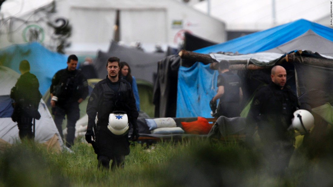Migrants have been living in tents after fleeing Syria, Iraq and other places of conflict. People started massing at the camp after Macedonia erected fences and tightened border controls.