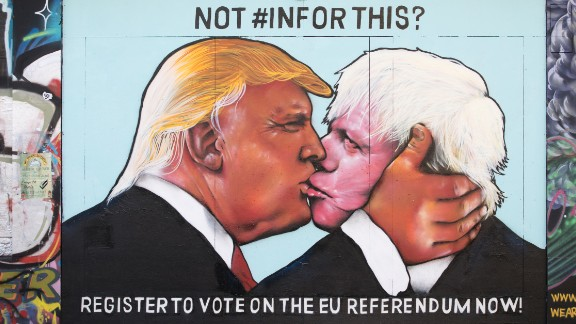 A mural in Bristol, England, before the UK's Brexit vote depicts Donald Trump kissing Boris Johnson.