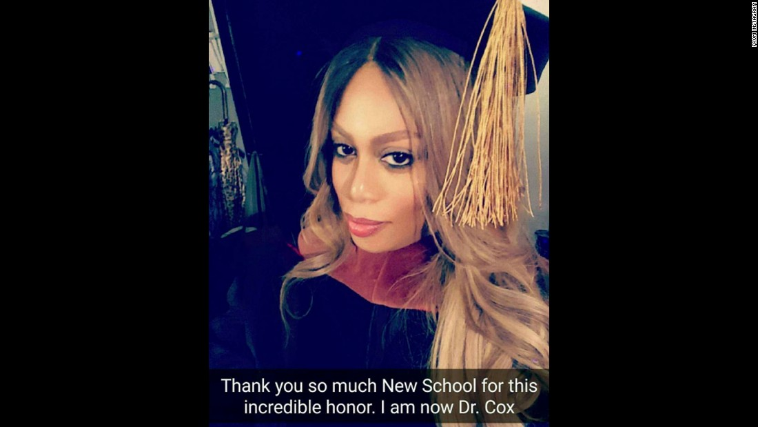 "Actress Laverne Cox received an honorary degree from The New School in New York, where she spoke during the commencement ceremony on Friday, May 20. ""Thank you @thenewschool for this incredible honor,"" <a href=""https://www.instagram.com/p/BFo0tpPCh3n/"" target=""_blank"">she said on Instagram.</a> ""Thank you to the faculty and graduating class for welcoming me today with so much love."""