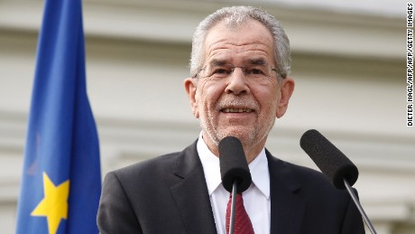 Alexander Van der Bellen speaks at a news conference after winning the election in Vienna, Austria, on May 23, 2016.