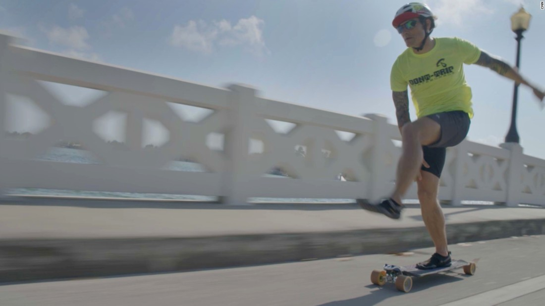 Andrew Andres, a competitive long-distance skater, holds the world record from most miles (more than 300) in a 24-hour period. He trained for the Bend Beatdown in his hometown of Miami.