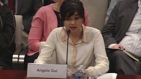Angela Gui, daughter of Hong Kong-based bookseller Gui Minhai, testifies before the US Congressional Executive Commission on China in 2016.