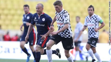 Max Verstappen on the ball during the 24th World Stars football match at Stade Louis II, Monaco.