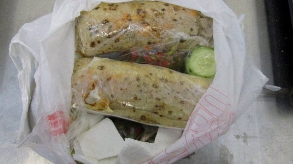 Customs and Border Protection officials say they found methamphetamine disguised as burritos.