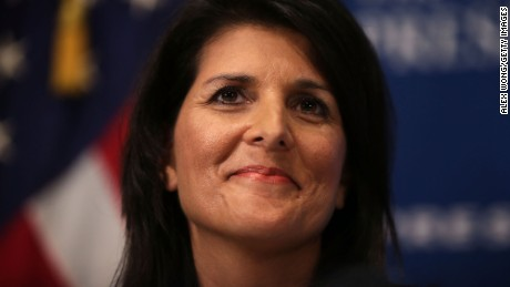 South Carolina Governor Nikki Haley addresses a Newsmaker Luncheon at the National Press Club September 2015 in Washington, DC.