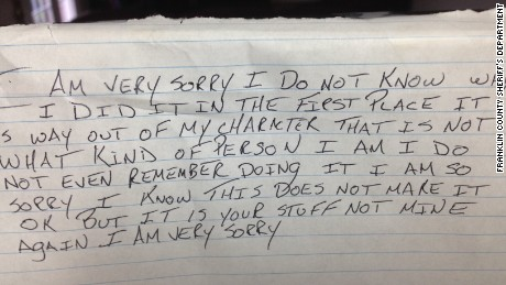 A thief returned items and left an apology note, said Kentucky authorities.