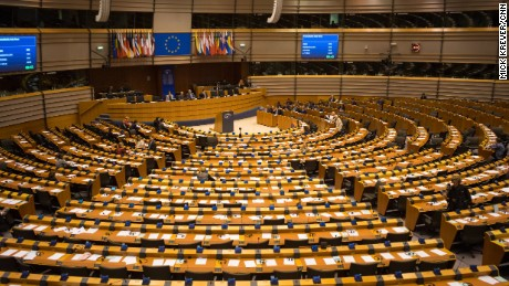The European Parliament in Brussels, Belgium.