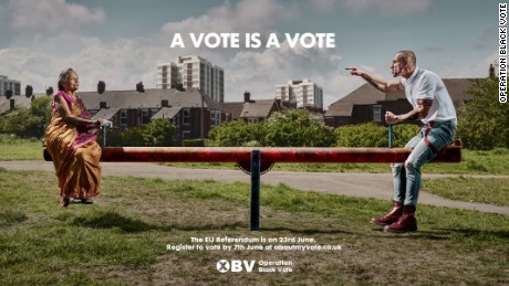 An Operation Black Vote poster stirs debate by encouraging ethnic minorities to vote in next month's referendum on the EU.