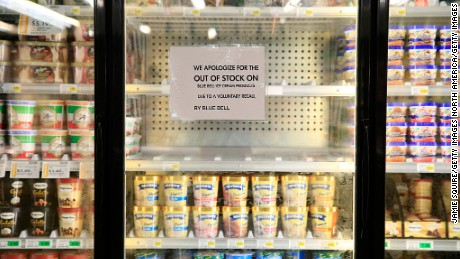 OVERLAND PARK, KS - APRIL 21:  Shelves are bare and signs are posted where Blue Bell products were displayed in a grocery store on April 21, 2015 in Overland Park, Kansas.  Blue Bell Creameries recalled all products following a Listeria contamination. (Photo by Jamie Squire/Getty Images)