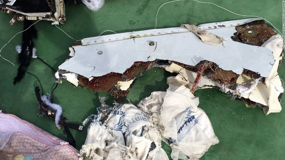 "Some of the wreckage from <a href=""http://www.cnn.com/2016/05/26/middleeast/egyptair-airbus-signals-detected/"" target=""_blank"">EgyptAir Flight 804</a> was found north of Alexandria, Egypt, on Saturday, May 21. There were 66 people on the plane when it crashed during a flight from Paris to Cairo."