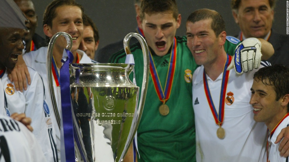 Zidane scored the only goal in Real Madrid's ninth Champions League success, an incredible volley that sealed a 2-1 win for Los Blancos against German side Bayer <br />Leverkusen at Hampden Park in Scotland in 2002.