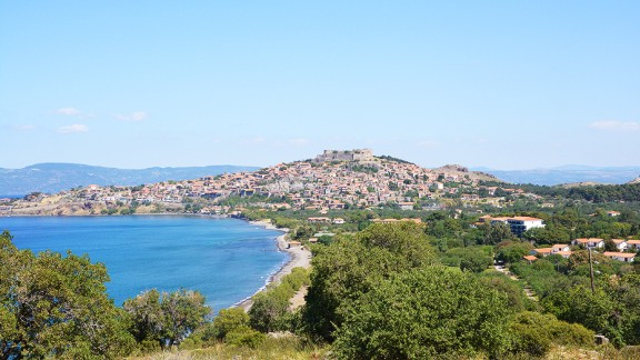 """Last year the island of Lesbos was at the crossroads of Europe's migrant crisis. These beaches were teeming with people fleeing Syria and other troubled places. Today the island's """"tourist capital"""" Molyvos and its shores are quieter."""