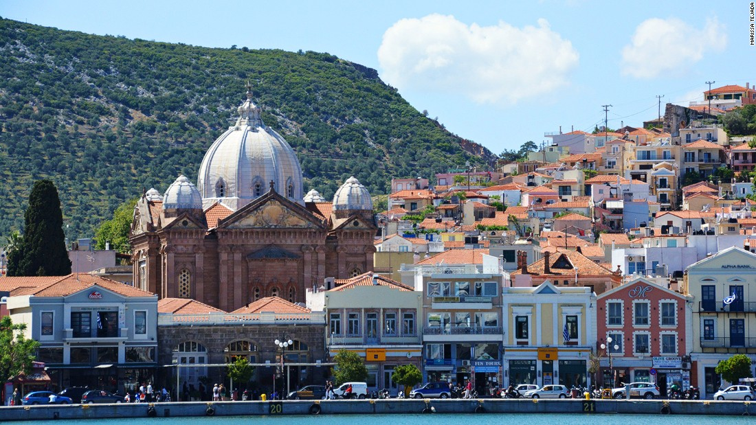 The church of Agios Therapon dominates the skyline in Lesbos's capital Mytilene. Islanders are looking at new ways to encourage tourists scared away by headlines about the migrants.
