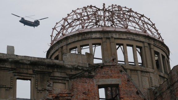 A helicopter takes off near the the Atomic Bomb Dome in Hiroshima, Japan.