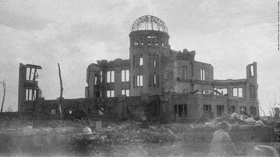 <strong>Then: </strong>The Hiroshima Prefectural Industrial Promotion Hall was destroyed by an atomic bomb in August 1945. The United States dropped the bomb on Hiroshima, Japan, during World War II, killing an estimated 70,000 people instantly.