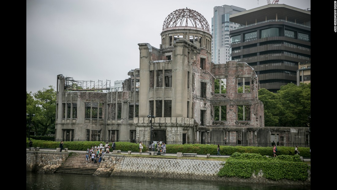 <strong>Now: </strong>Visitors gather in front of what is now the Hiroshima Peace Memorial on Thursday, May 26.