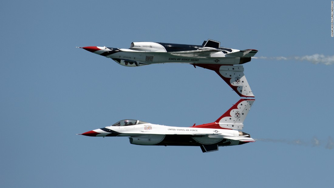 A couple of the U.S. Air Force Thunderbirds practice Saturday, May 7, before an air show in Fort Lauderdale, Florida.