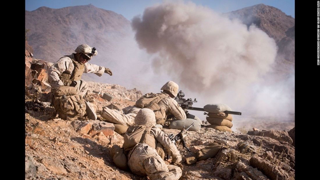 U.S. troops train at a range in Twentynine Palms, California, on Wednesday, May 25.