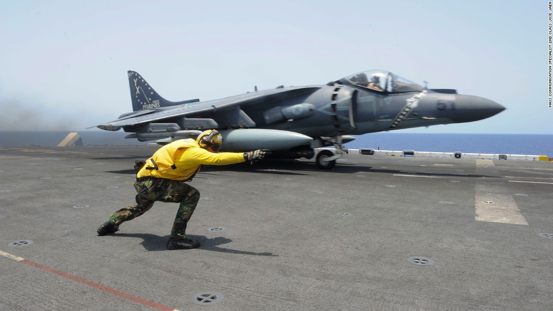 An AV-8B Harrier II takes off from the USS Boxer in the Gulf of Aden on Monday, May 23.