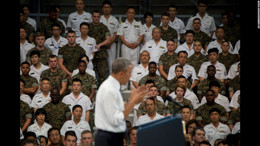 "U.S. President Barack Obama speaks to U.S. and Japanese troops during his visit to the Marine Corps Air Station in Iwakuni, Japan, on Friday, May 27. <a href=""http://www.cnn.com/2016/05/23/politics/gallery/obama-in-asia-may-2016/index.html"" target=""_blank"">See more photos of Obama's trip to Japan and Vietnam</a>"