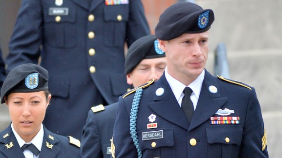 US Army Sgt. Bowe Bergdahl leaves the Ft. Bragg military courthouse with his legal team after a pretrial hearing in Ft. Bragg, North Carolina. (Photo by Sara D. Davis/Getty Images)