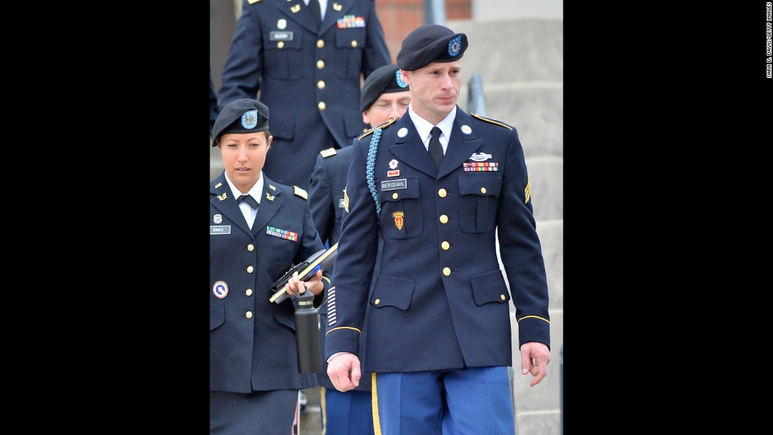 "U.S. Army Sgt. Bowe Bergdahl leaves a military courthouse in Ft. Bragg, North Carolina, after a pretrial hearing on Tuesday, May 17. Bergdahl, who disappeared from his base in Afghanistan in June 2009 and was held in captivity by the Taliban until May 2014, <a href=""http://www.cnn.com/2016/05/17/politics/bowe-bergdahl-court-martial-delayed-until-2017/"" target=""_blank"">will face court martial in February 2017.</a> He is charged with desertion and endangering fellow soldiers."