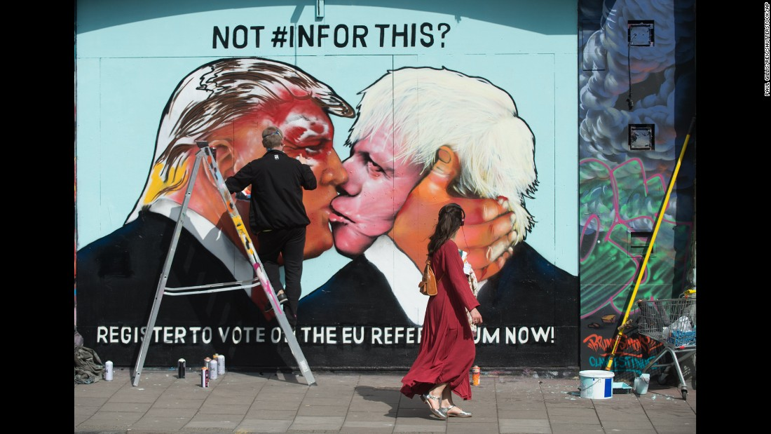 "A mural in Bristol, England, shows London Mayor Boris Johnson, right, kissing U.S. presidential candidate Donald Trump on Monday, May 23. Local artists created the mural to urge young people to register to vote. Britain <a href=""http://money.cnn.com/2016/04/15/news/eu-referendum-brexit-campaign/index.html"" target=""_blank"">is facing its biggest political decision in decades:</a> Remain a member of the European Union, or walk away from the world's largest single market?"