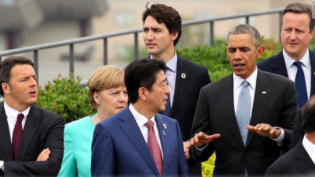 World leaders walk together for a photo session Thursday, May 26, on the first day of G7 summit meetings in Shima, Japan. From left are Italian Prime Minister Matteo Renzi, German Chancellor Angela Merkel, Japanese Prime Minister Shinzo Abe, Canadian Prime Minister Justin Trudeau, U.S. President Barack Obama and British Prime Minister David Cameron.