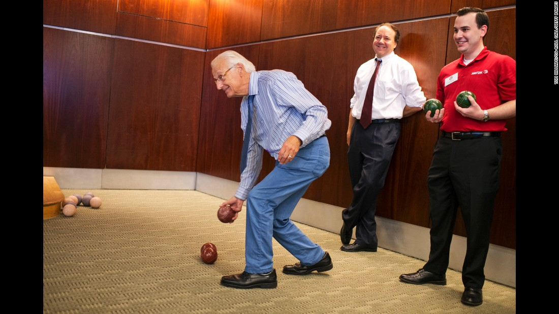 U.S. Rep. Bill Pascrell, left, competes in the fourth annual Congressional Bocce Ball Tournament on Monday, May 23. Pascrell and his partner, U.S. Rep. Pat Tiberi, center, defeated a team from Xerox in an event sponsored by the National Italian American Foundation.