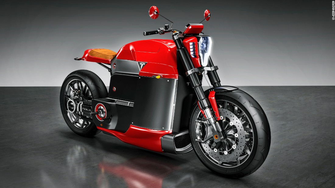 """I believe Tesla could build a great motorcycle -- that's why I've done this concept of e motorcycle called ""Model M.""<br /><br />Slapins imagines the old fuel tank being re-purposed as a luggage compartment for a helmet and electric gadgets. <br />""The bike could have 150 kW electric engine with four modes of power output -- Race, Cruise, Standard and Eco."""