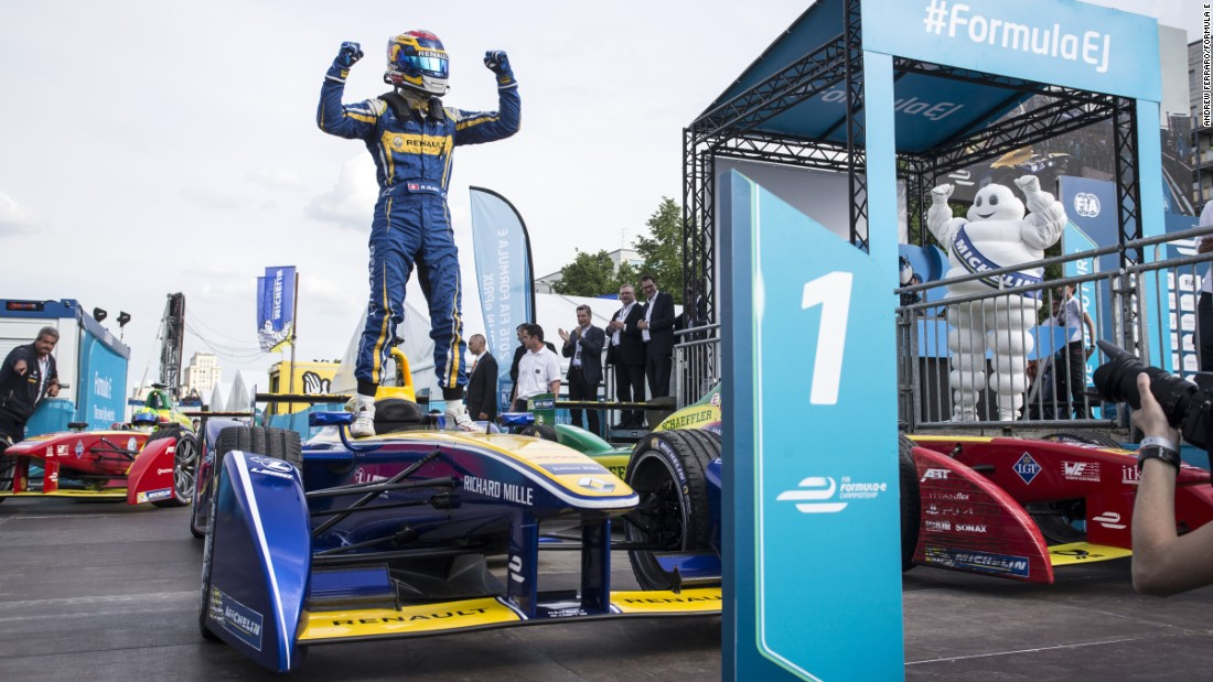 Buemi celebrates in the German capital -- but will he be celebrating again in London? We'll know after this weekend.