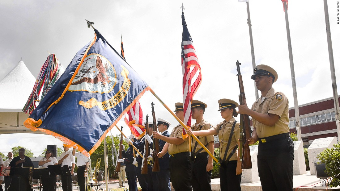 Service members present the colors May 28 during the Carteret County Memorial Day Service in Beaufort, North Carolina.