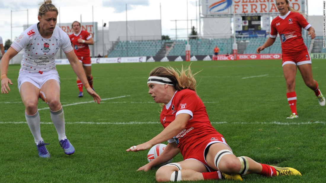 In Sunday's first semifinal, Canada overcame England 31-10, with Karen Paquin (pictured) scoring once and Ghislaine Landry bagging a hat-trick.