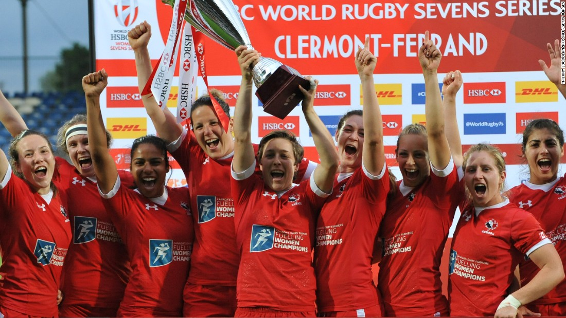 The Canadians then celebrated after beating Australia 29-19 to lift the cup, with Landry crossing again for her 19th try of the series and also adding a vital penalty drop-goal after returning from the sin bin. Landry was the series' overall leading points scorer on 158.