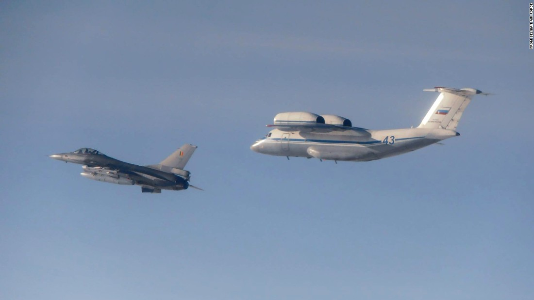 A Russian An-72 with a Belgian F-16.