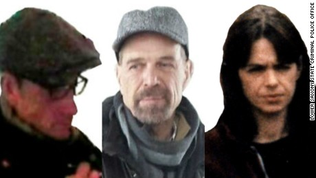 Images believed to be of ex-Baader-Meinhof Group members Burkhard Garweg, left, Ernst-Volker Staub and Daniela Klette.