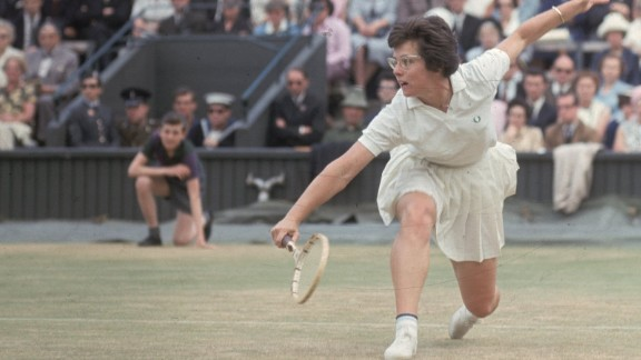 American tennis player Billie Jean Moffitt, later Billie Jean King, playing at Wimbledon in 1965.