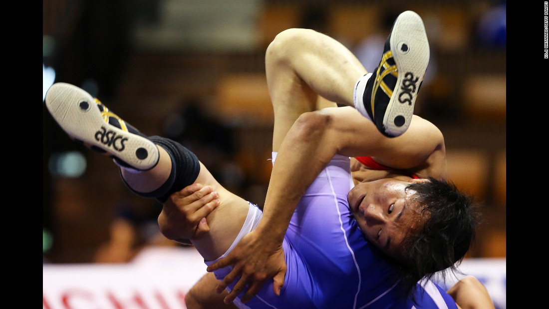 Shingo Arimoto, facing the camera, wrestles Shoya Shimae during the All Japan Wrestling Championships on Sunday, May 29.