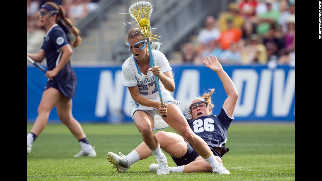 North Carolina lacrosse player Aly Messinger controls the ball during a national semifinal game on Friday, May 27. The Tar Heels defeated Penn State 12-11, and two days later they would defeat Maryland in the championship game. It is the second national title for the UNC women, who also won in 2013.