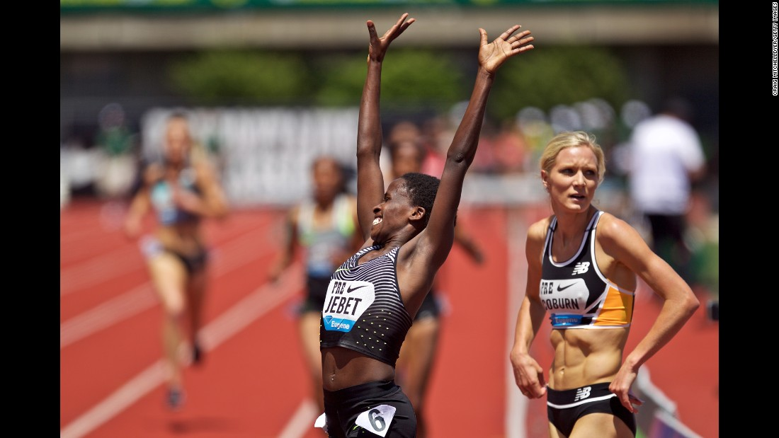 Bahrain's Ruth Jebet celebrates Saturday, May 28, after she won the 3,000-meter steeplechase at the Diamond League event in Eugene, Oregon.