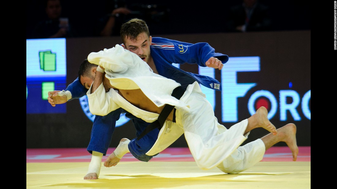 France's Vincent Limare, in blue, competes against Azerbaijan's Orkhan Safarov during the World Judo Masters event in Guadalajara, Mexico, on Friday, May 27. Safarov defeated Limare to win their weight class.