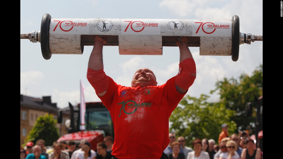 "Sergei Shutov lifts a 140-kilogram (309-pound) barbell during a strongman event in Minsk, Belarus, on Saturday, May 28. <a href=""http://www.cnn.com/2016/05/24/sport/gallery/what-a-shot-sports-0524/index.html"" target=""_blank"">See 30 amazing sports photos from last week</a>"