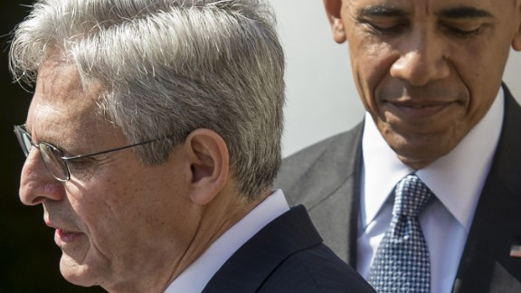 US President Barack Obama joins his Supreme Court nominee, federal appeals court judge Merrick Garland (L), during the nomination announcement the Rose Garden of the White House in Washington, DC, March 16, 2016.Garland, 63, is currently Chief Judge of the United States Court of Appeals for the District of Columbia Circuit. The nomination sets the stage for an election-year showdown with Republicans who have made it clear they have no intention of holding hearings to vet any Supreme Court nominee put forward by the president. / AFP / SAUL LOEB        (Photo credit should read SAUL LOEB/AFP/Getty Images)