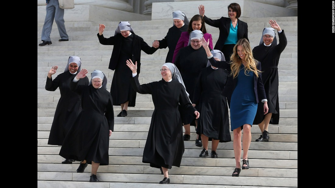 "<strong>Obamacare contraception mandate: </strong>Catholic nuns from the Little Sisters of the Poor walk down the steps of the U.S. Supreme Court in March. The group was challenging the government's new health-care regulations. Lawyers for the nuns and other religious nonprofits told the court that the so-called contraceptive mandate forces these groups to either violate their religious beliefs or pay ruinous fines. The justices, in a unanimous decision in May, <a href=""http://www.cnn.com/2016/05/16/politics/supreme-court-obamacare-contraceptive-mandate/"" target=""_blank"">sent the case back down to the lower courts</a> for opposing parties to work out a compromise."