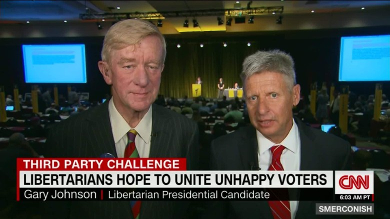 Libertarian candidates Johnson, Weld seek middle ground