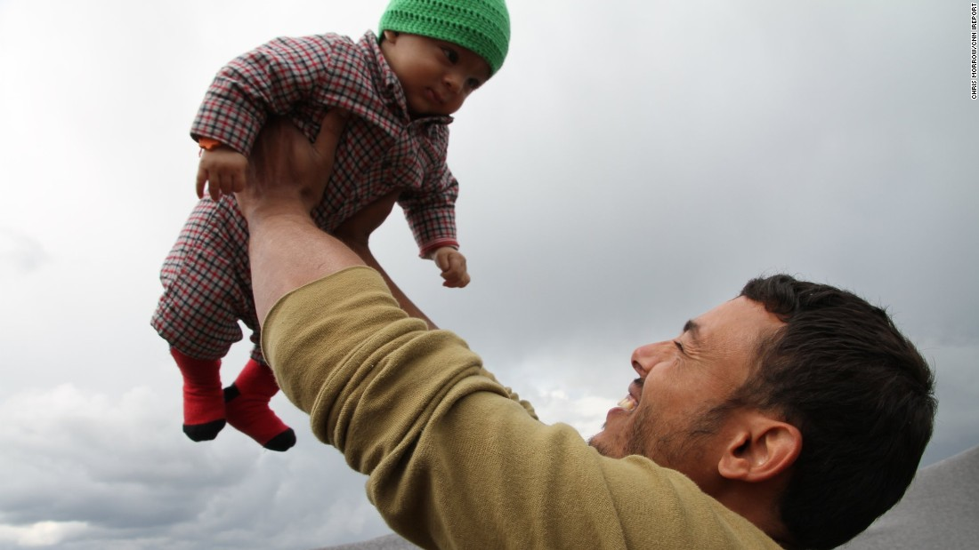 Aymed's most precious item is his 4-month-old son. The family fled from ISIS-stronghold Deir Izzor.